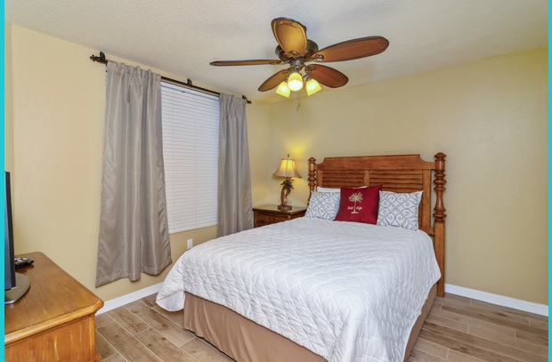 The two guest rooms in the beach condo have queen beds, plus a queen sleeper sofa