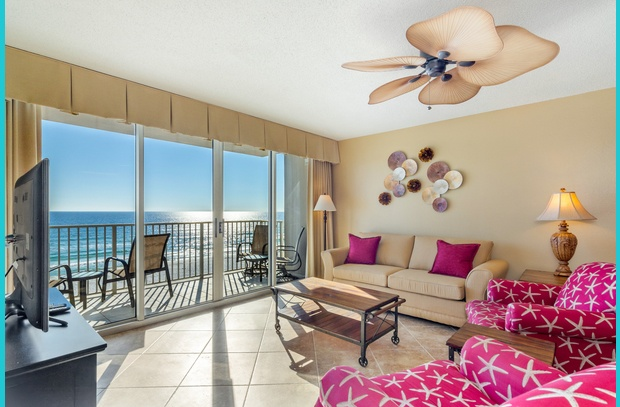 Enjoy a stunning view of Okaloosa Beach from the living room of Island Princess 615