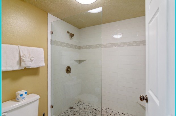 Vacation guests will love the newly remodeled master shower in Island Princess 615
