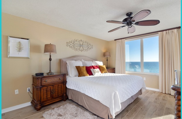 The master suite offers vacation guests a stunning view of the Emerald Coast
