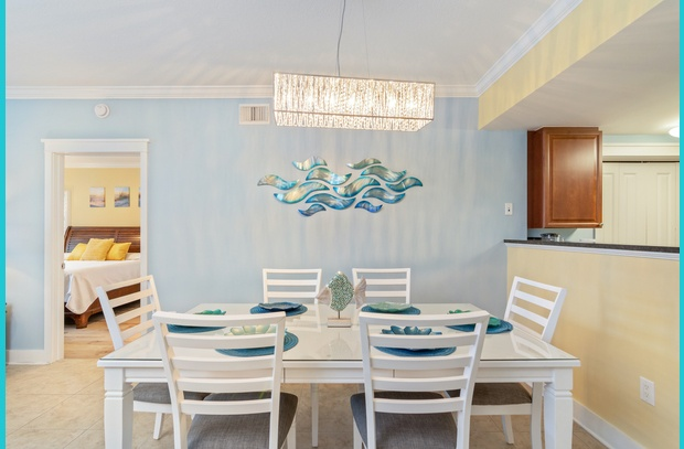 NEW chandelier, dining set and designer art in Waterscape A206